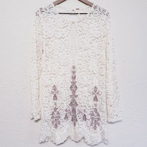 Free people tribal embroidered Lace tunic dress Lg